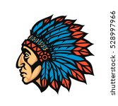native american indian chief... | Shutterstock .eps vector #528997966