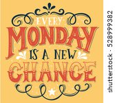 every monday is a new chance.... | Shutterstock .eps vector #528999382