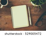 top view image of open notebook ... | Shutterstock . vector #529005472