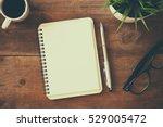 top view image of open notebook ... | Shutterstock . vector #529005472