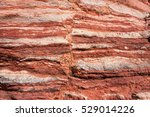 Layered Sandstone Wall In Red...