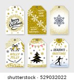 collection gift tags. christmas ... | Shutterstock .eps vector #529032022