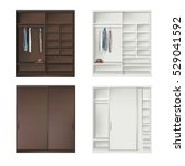 set of wardrobes with clothing...