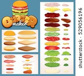 burger  cheeseburger and... | Shutterstock .eps vector #529056196