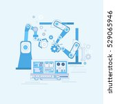 robotic assembly line... | Shutterstock .eps vector #529065946