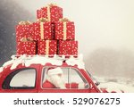 santa claus drives a red car... | Shutterstock . vector #529076275
