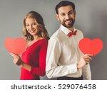 beautiful elegant girl in red... | Shutterstock . vector #529076458