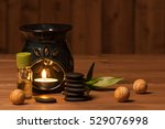 aroma lamp with burning candle. ... | Shutterstock . vector #529076998