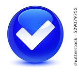 validate icon glassy blue round ... | Shutterstock . vector #529079752