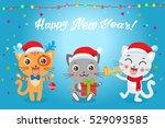 cute little cats cartoon vector ... | Shutterstock .eps vector #529093585