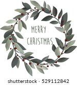 delicate christmas wreath with... | Shutterstock .eps vector #529112842