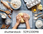 baker knead dough bread  pizza... | Shutterstock . vector #529133098