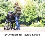 back view of a carer man with... | Shutterstock . vector #529152496
