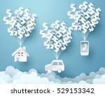 paper house  car and mobile... | Shutterstock .eps vector #529153342