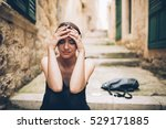 woman with sad face crying.sad... | Shutterstock . vector #529171885