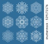 set of vector white snowflakes. ... | Shutterstock .eps vector #529172176