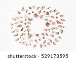 Stock photo flowers composition frame made of dried flowers and leaves top view flat lay 529173595