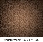 damask background dark brown ... | Shutterstock .eps vector #529174258