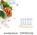 christmas and new year blue... | Shutterstock . vector #529202146