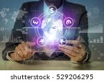 mixed media of financial technology concept - stock photo
