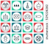 set of 16 celebration icons.... | Shutterstock .eps vector #529228282