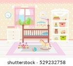 baby room interior. flat design.... | Shutterstock .eps vector #529232758