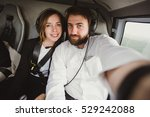 beautiful couple taking selfie... | Shutterstock . vector #529242088