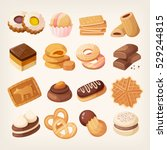 cookies and biscuits icons set. ... | Shutterstock .eps vector #529244815