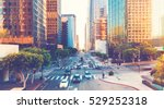 Stock photo view of los angeles rush hour traffic in downtown la 529252318