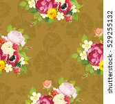 seamless floral pattern with... | Shutterstock .eps vector #529255132