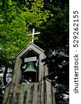 Bell tower of St. Paul church, a catholic church established in 1935 by French people living in Karuizawa (Karuizawa-machi), Kitasaku District, Nagano Prefecture, Japan