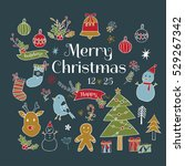 set of christmas fun and... | Shutterstock .eps vector #529267342