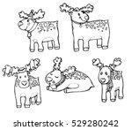 set linear contour hand drawn... | Shutterstock .eps vector #529280242