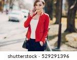 spectacular young brunette... | Shutterstock . vector #529291396