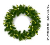 green christmas fir tree wreath ... | Shutterstock .eps vector #529298782