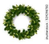 green christmas fir tree wreath ...   Shutterstock .eps vector #529298782