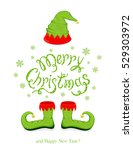 green hat and shoes elf... | Shutterstock .eps vector #529303972