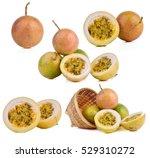 ser ripe passion fruits... | Shutterstock . vector #529310272