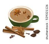 spiced tea. warming beverage... | Shutterstock .eps vector #529321126