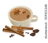 spiced tea. warming beverage... | Shutterstock .eps vector #529321168