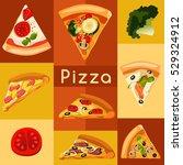 pizza elements   vector... | Shutterstock .eps vector #529324912