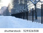 Winter Landscape Iron Fence At...