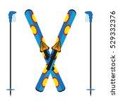ski and sticks vector... | Shutterstock .eps vector #529332376