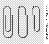 metal paper clips isolated and... | Shutterstock .eps vector #529335778