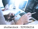 co worker designer hand using... | Shutterstock . vector #529336216