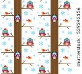 winter tree with owls vector... | Shutterstock .eps vector #529342156