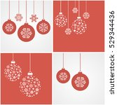 christmas snowflakes and balls. ... | Shutterstock .eps vector #529344436