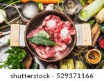 cooking pot with  soup or bone... | Shutterstock . vector #529371166