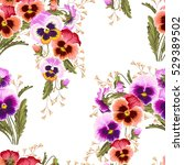 seamless varicolored pansies | Shutterstock .eps vector #529389502