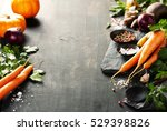 vegetables on wood. bio healthy ... | Shutterstock . vector #529398826